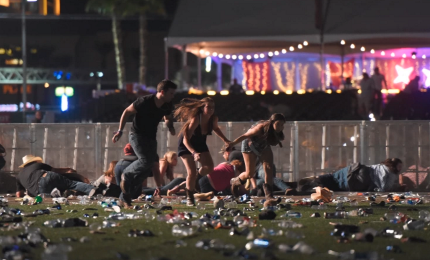 Country music fans running for cover as hotel guest sprayed bullets on the concert in hopes of ending the intolerable blasting of country music.