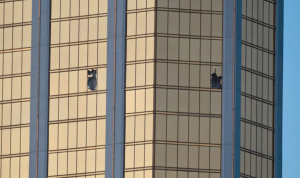 Hotel room where guest fired automatic weapon upon country music concert.